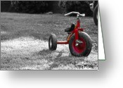 Old Bike Greeting Cards - Little Red Trike Greeting Card by Jai Johnson