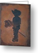 Little Boy Greeting Cards - Little Rider Greeting Card by Leslie Allen