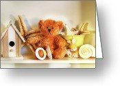 Infant Photo Greeting Cards - Little rusty teddy bear Greeting Card by Sandra Cunningham