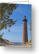 Parapet Greeting Cards - Little Sable Point Lighthouse Greeting Card by Ann Horn