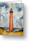 Michigan Drawings Greeting Cards - Little Sable Point Lighthouse Greeting Card by Michael Vigliotti