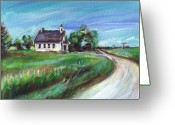 Schoolhouse Painting Greeting Cards - Little Schoolhouse Greeting Card by Angie  Ketelhut