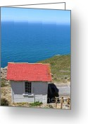 Light Houses Greeting Cards - Little Shack At The Point Reyes Lighthouse in California . 7D16020 Greeting Card by Wingsdomain Art and Photography