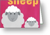 Gray Greeting Cards - Little Sheep Greeting Card by Linda Woods