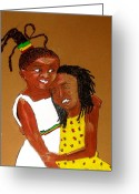 Family Pastels Greeting Cards - Little Sister Greeting Card by Lorna Lorraine