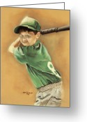 Bat Pastels Greeting Cards - Little Slugger Greeting Card by Robin Martin Parrish