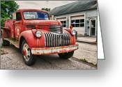 Firetruck Greeting Cards - Little Squirt  Greeting Card by Guy Whiteley