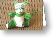 Starbucks Coffee Sculpture Greeting Cards - Little Starbucks Panda Bear Greeting Card by Alfred Ng
