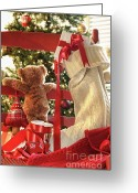 Sweetheart Greeting Cards - Little teddy bear looking through chair Greeting Card by Sandra Cunningham