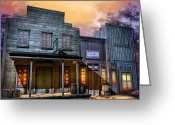 Old West Greeting Cards - Little Town Greeting Card by Joel Payne
