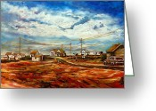 Autumn In The Country Greeting Cards - Little Village Prince Edward Island Roadside Scenic Landscape Autumn Scene With Storm Clouds Greeting Card by Carole Spandau