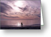 Beach Landscapes Greeting Cards - Little Waves Big World Greeting Card by Amanda Vouglas