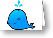 Whale Greeting Cards - Little Whale Greeting Card by Ana Villanueva