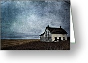 Rural Decay Prints Greeting Cards - Little White Home Greeting Card by Larysa Luciw