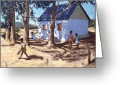 Sub Greeting Cards - Little white house Karoo South Africa Greeting Card by Andrew Macara