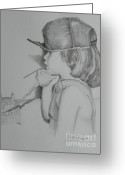 City Of Water Drawings Greeting Cards - Little Working Girl  Greeting Card by David Ackerson