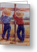 Cowboy Pastels Greeting Cards - Little Wranglers Greeting Card by Ann Peck