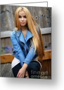 Straight Hair Greeting Cards - Liuda17 Greeting Card by Yhun Suarez