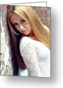 Straight Hair Greeting Cards - Liuda4 Greeting Card by Yhun Suarez