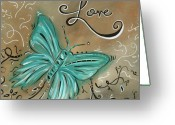Aqua Greeting Cards - Live and Love Butterfly by MADART Greeting Card by Megan Duncanson