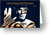 Live Art Mixed Media Greeting Cards - Live Long and Prosper Greeting Card by Anastasiya Malakhova