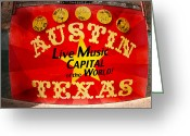 Live Music Greeting Cards - Live Music Mural of Austin Greeting Card by Andrew Nourse