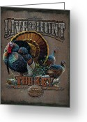 Tree Greeting Cards - Live to Hunt Turkey Greeting Card by JQ Licensing