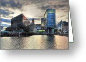Conservative Greeting Cards - Liverpool After Dark Greeting Card by Barry R Jones Jr