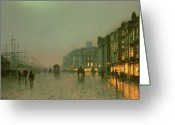 Britain Painting Greeting Cards - Liverpool Docks from Wapping Greeting Card by John Atkinson Grimshaw