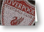 Bottle Cap Greeting Cards - Liverpool FC Bottle Cap Mosaic Greeting Card by Paul Van Scott