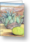 Color Pencils Greeting Cards - Living Desert Greeting Card by Snake Jagger