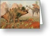 Stegosaurus Digital Art Greeting Cards - Living Fossils Of A Stegosaurus And An Greeting Card by Mark Stevenson