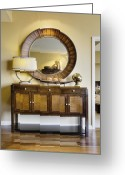 Cabinet Room Greeting Cards - Living Room Cabinet With Mirror Greeting Card by Andersen Ross