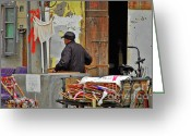 Cart Greeting Cards - Living the old Shanghai life Greeting Card by Christine Till