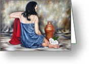Woman Figure Greeting Cards - Living waters Greeting Card by Ilse Kleyn