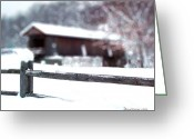 Split Rail Fence Greeting Cards - Livingston Manor Covered Bridge Greeting Card by EricaMaxine  Price