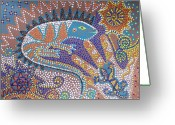 Fantasy Creatures Greeting Cards - Lizard Dreaming Greeting Card by Vijay Sharon Govender