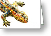 Tourist Pyrography Greeting Cards - Lizard Souvenir by Antony Gaudi Greeting Card by Soultana Koleska