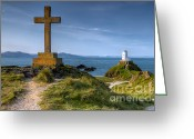 Wales Greeting Cards - Llanddwyn Cross Greeting Card by Adrian Evans