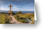 Lighthouse Greeting Cards - Llanddwyn Island Greeting Card by Adrian Evans