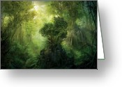 Forest Greeting Cards - Llanowar Reborn Greeting Card by Philip Straub