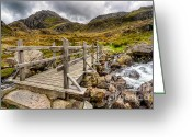 Farm Digital Art Greeting Cards - Llyn Idwal Bridge Greeting Card by Adrian Evans