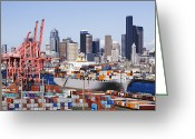 Puget Sound Greeting Cards - Loaded Container Ship In Seattle Harbor Greeting Card by Jeremy Woodhouse