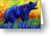 Bears Greeting Cards - Loafing in the Lupin Greeting Card by Marion Rose
