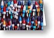 Hanging Greeting Cards - Lobester trap bouys Greeting Card by Garry Gay