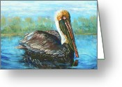 Pelican Greeting Cards - Lobservateur Greeting Card by Dianne Parks