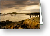 Twilight Photo Greeting Cards - Lobster Boats Cape Porpoise Maine Greeting Card by Bob Orsillo