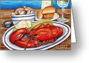 Cocktails Pastels Greeting Cards - Lobster Dinner Greeting Card by Patricia L Davidson