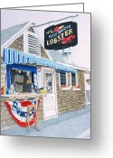 Grey Drawings Greeting Cards - Lobster Shack Greeting Card by Glenda Zuckerman