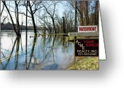 River Flooding Greeting Cards - Location Location Location Greeting Card by Ross Powell